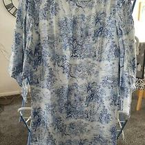 h&m Size 12 Blue White Split Sleeve Dress Photo