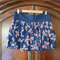 h&m Size 12  Novelty Bow Tie Printed Skirt  Pleat Stretch Waist Band  Lined Photo