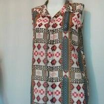 h&m Size 12 Sheer Sleeveless Top Aztec Orange Blue Pattern Great With Leggings  Photo