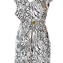 h&m Size 4 Blush Pink & Black Animal Print Belted Sheath Dress Photo