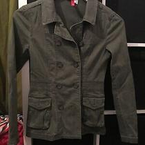 h&m Size 6 Green Denim Look Blazer Jacket (E5) Photo