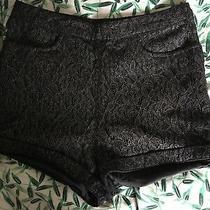 h&m Size 6 Silver Black Lace Hot Pant Shorts (J12) Photo