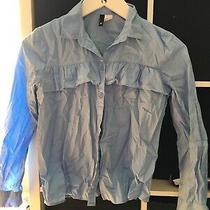 h&m Size 8 Blue Long Sleeve Blouse Shirt (B14) Photo