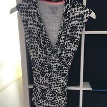 h&m Size Xs Black and White Spot Sleeveless Crossover Front Top (C7) Photo