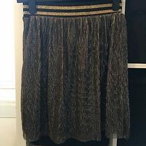 h&m Size Xs Gold Elasticated Waist Mini Skirt (F8) Photo