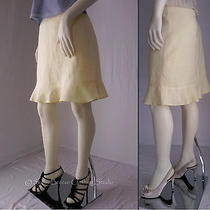 h&m Skirt With Flirty Ruffled Hem in Light Yellow a-Line 100% Ramie Size 6 Photo
