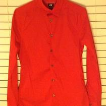 h&m Slim Button Up Fitted Dress Shirt Size S Red Forever 21 Photo