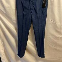 h&m Slim Fit Linen Blend Pants Size 36 R Mens Dark Navy Blue Dress Trouser Euc Photo