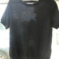 h&m Sparkle Black Short Sleeve Top Size S Uk 8/10 Bnwt Photo