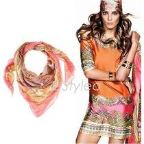h&m Spring 2012 -Lost in La-Satin Paisley Shawl/scarf Orange/pink Scarf Only   Photo
