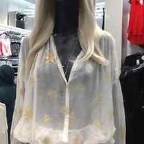 h&m Spring 2014 Collection Star Chiffon Shirt Top Conscious Trend Divided Sz2/32 Photo