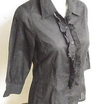 h&m Sweden Shirt Blouse Top Sheer Black Ruffled Size 6 Made in India Cotton Photo
