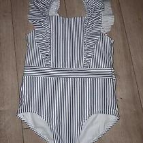 h&m Swimsuit Swimming Costume 1-2year Stripe Stripey White Navy Blue Frills Girl Photo