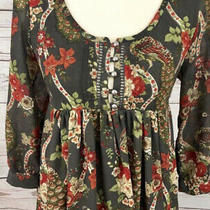 h&m Sz 4 Brown Floral Peacock Baby Doll Fall Boho Lined Dress 3/4 Sleeves Tunic Photo