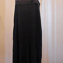h&m Sz M Dress Black Metallic Sweater Knit Pleated Shift Sparkly Holiday Medium Photo