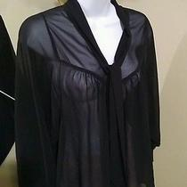 h&m Tie Top Sheer Black Blouse Size 2 Photo