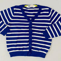 h&m Toddler Girls Size 2 - 4 Yrs Blue & White Cardigan Sweater Long Sleeve Top Photo