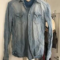 h&m Uk Size 4 Long Sleeve Blue Denim Shirt (N18) Photo