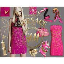 h&m Versace Dress Pink Silk Studded Embellished Uk 10 Eur 36 Us 6 Ltd Edition  Photo
