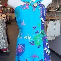 h&m Versace Dress Silk Blue Oriental Flower  Asymetric Pleats Uk 8 Eur 34 Us 4 Photo