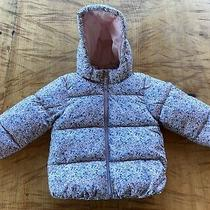 h&m Winter Hooded Puffer Coat Jacket Size 2- 3 Yr Girl Pink & Blue Flowers Photo