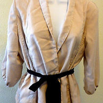 h&m Women's 100% Cream Tencel Tan Fully Lined Jacket Belted  Size 12 Nice Dress  Photo