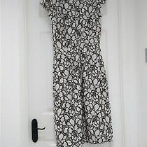 h&m Women's Black & Off White Floral Flowers Patterned a Line Midi Dress Uk 10 S Photo