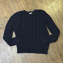 h&m Women's Cable-Knit Sweater Crew Neck Navy Size Small Photo