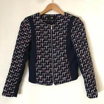 h&m Women's Jacket Size 2  Tweed Plaid Navy Blue Panels Zip Up Blazer Photo