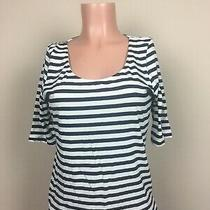 h&m Women's Large L Black & White Striped U Neckline 3/4 Sleeve Cotton Blouse Photo