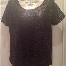 H & M Women's Misses Black Sequin Short Sleeved Top Blouse Sz Medium Photo