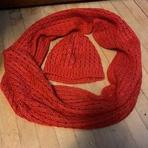 h&m Womens Orange Knit Winter Infinity Scarf and Hat Set Photo