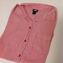 h&m Women Top Blouse Shirt Working Dress Red Stripped  Photo