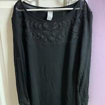 h&m Womens Medium Black Long Sleeve Blouse Photo