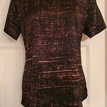 h&m Womens Silky Tshirt/tunic Short Sleeve Black/pink/green Pattern Size 12 Photo