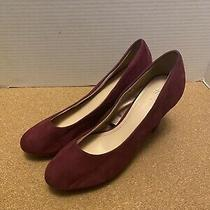 h&m Womens Size 7 Purple Faux Suede Pointed Toe Pumps High Heels Photo