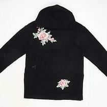 h&m Womens Size S Floral Cotton Blend Black Textured Hoodie (Regular) Photo