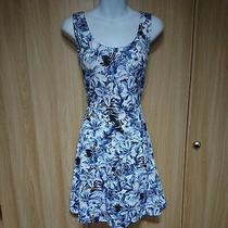h&m Womens White Blue Floral Skater Dress Size M Fit Uk 12/14 Photo