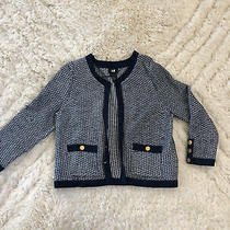 h&m Xs Classic Cardigan Work Chanel Navy Blue Gold Buttons Cotten Linen Sweater Photo
