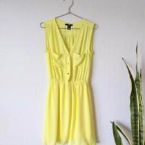 h&m Yellow Mini Dress Pockets Gold Buttons v Neck Lightweight Sleeveless Size 2 Photo