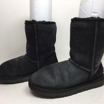 H Womens Ugg Australia Winter Suede Black Boots Size 6 Photo