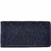 H40 Adrianna Papell - Sabrina Navy Blue Lace Clutch Purse Handbag Photo