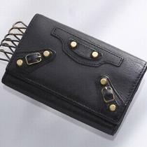 H6467m Authentic Balenciaga Studs Genuine Leather 6-Ring Key Case Photo