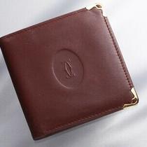 H6859m Authentic Must De Cartier Genuine Leather Bifold Wallet Photo