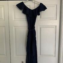 Habitual Girl Navy Cotton/linen Crisscross Jumpsuit Girls Size 8 Photo