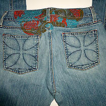 Habitual Lady's Koi Rocks on Colorfully Embroidered Bootcut Jeans Size 28 Photo
