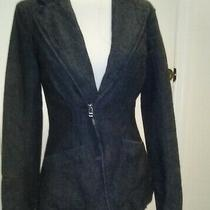 Habitual Stylish Womens Indigo Tweed Lined Denim Jean Zippered Blazer Jacket Xs Photo