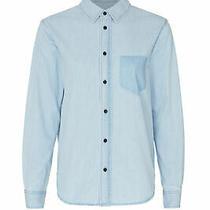 Habitual Women's Top Blue Size Small S Button Down Shirt Chambray 128- 149 Photo