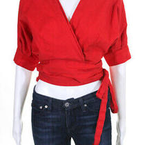 Habitual Womens Red Arietta Top Collared Wrap Cotton Size M 11128547 Photo