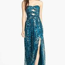 Hailey by Adrianna Papell Cutout Print Chiffon Gown (Size 10) Photo